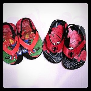 Shoes - 2 NWOT Flip Flops Spiderman and Avengers